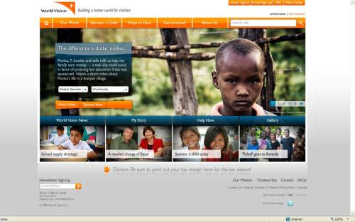 Screen shot of World Vision's home page with 7 year old's story