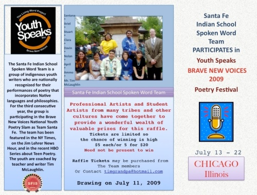 Santa Fe Indian School's Spoken Word Team flyer: can you help?