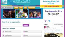 Arts Day of Giving home page with categories