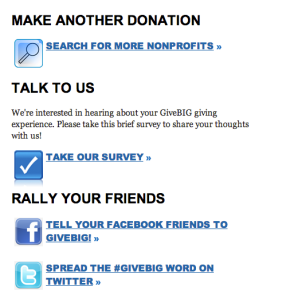 Give Big post-donation screen