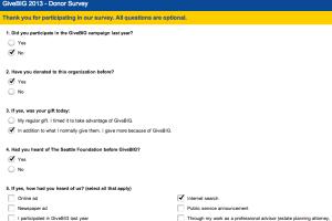 Give Big survey - 1st five questions